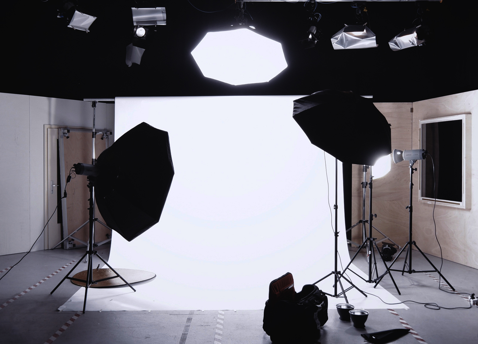 A white backdrop in a photography studio
