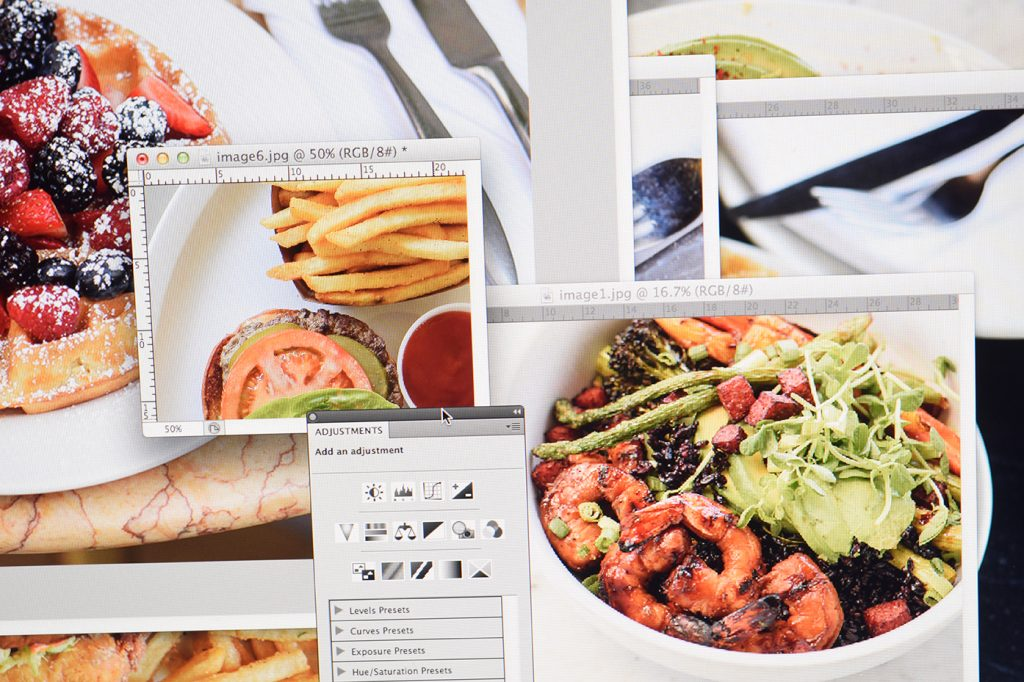 Editing a food photography portfolio for a food photography course