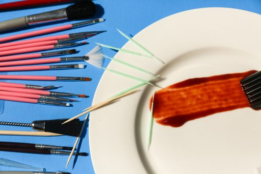 Brushes and toothpicks used by a professional food stylist