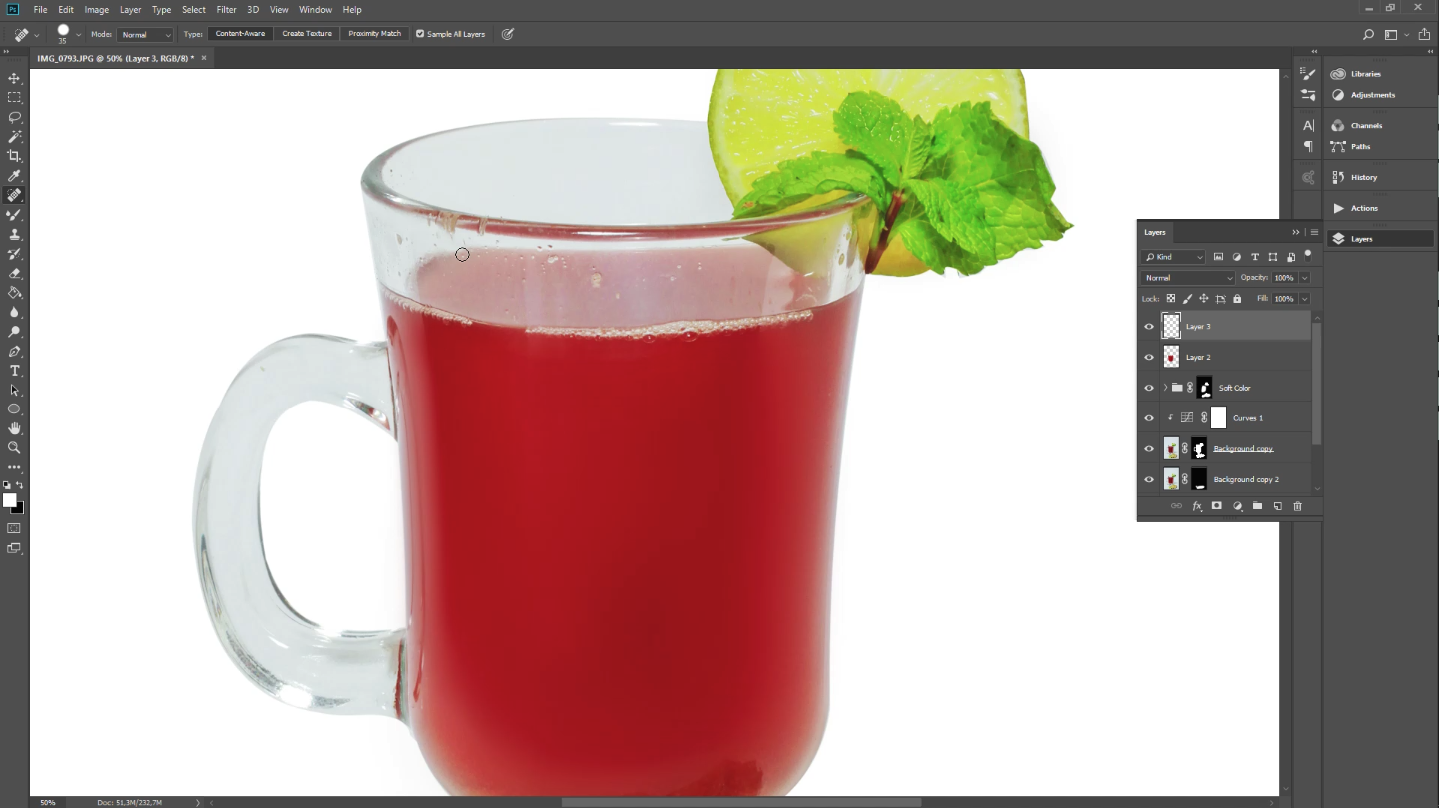 food photography editing in Photoshop